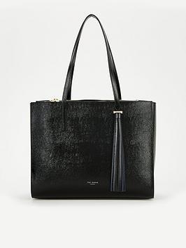 ted-baker-patent-tassel-shopper-bag-black