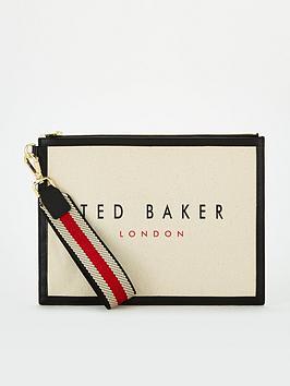 ted-baker-canvas-webbing-wristlet-pouch-black