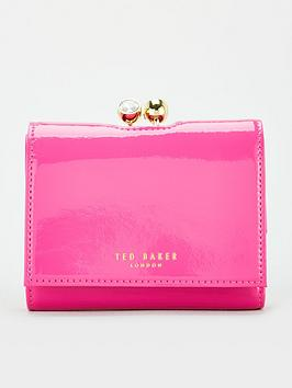 ted-baker-crinkle-patent-mini-bobble-purse-pink