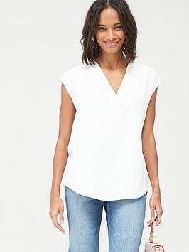 V by Very V By Very Essential V Neck Sleeveless Formal Shell Top - White Picture