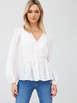River Island River Island Waisted Button Blouse - Ivory Picture