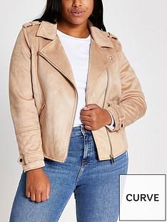 ri-plus-suedette-biker-jacket-brown