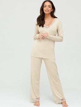 v-by-very-lace-trim-long-sleeve-t-shirt-ampnbsptrouser-pyjamasnbsp--oatmeal