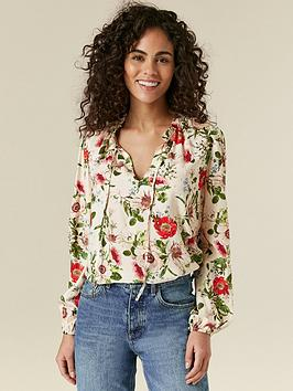 Wallis Wallis Gold Flecked Poppy Print Blouse - Ivory Picture