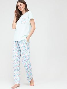 v-by-very-floral-short-sleeve-pyjamas-blue