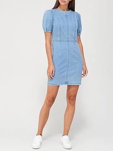 v-by-very-puff-sleeve-denim-dress-mid-wash