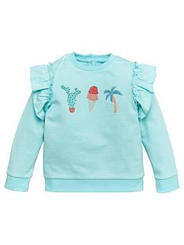 v-by-very-girls-frill-shoulder-palm-springs-embroidered-sweatshirt-green