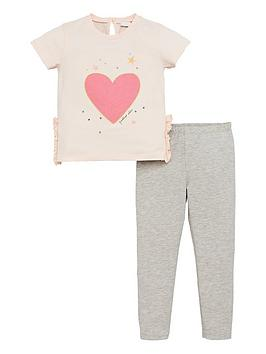 V by Very V By Very Girls 2 Piece Glitter Heart Top And Leggings Set - Pink Picture
