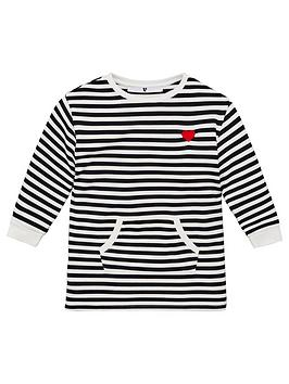 V by Very V By Very Girls Stripe Embroidered Heart Sweat Dress - Multi Picture