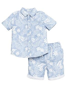 V by Very V By Very Boys 2 Piece Palm Print Shirt And Shorts Set - Blue Picture