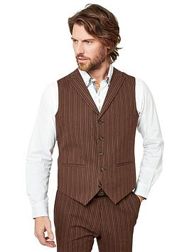 Joe Browns   Sensational Stripe Waistcoat - Chestnut