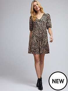 dorothy-perkins-dorothy-perkins-zebra-v-neck-mini-fit-and-flare-dress
