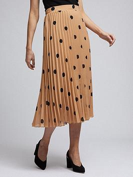 Dorothy Perkins  Spot Pleat Midi Skirt - Camel