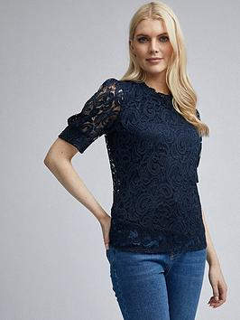 dorothy-perkins-dorothy-perkins-lace-puff-sleeve-top-navy