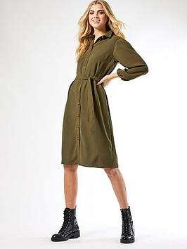 Dorothy Perkins Dorothy Perkins Puff Sleeve Midi Shirtdress - Khaki Picture
