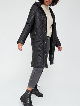 v-by-very-faux-leather-diamond-quilt-padded-coat-black