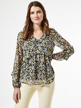 Dorothy Perkins Dorothy Perkins Ditsy Ruffle Blouse Top &Ndash; Multi Picture