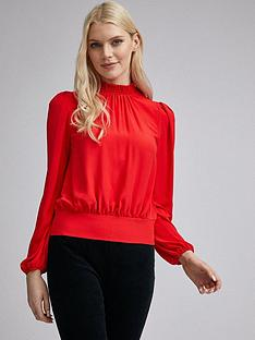 dorothy-perkins-shirred-neck-long-sleeve-top-ndash-red