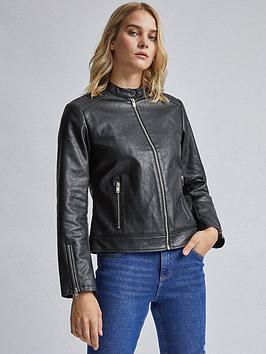 Dorothy Perkins    Black Collarless Biker Jacket