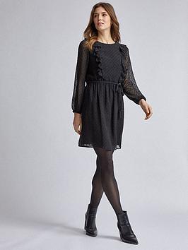 dorothy-perkins-dorothy-perkins-black-long-sleeve-ruffle-dobby-fit-and-flare-dress