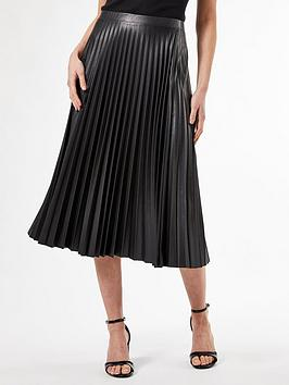 Dorothy Perkins Dorothy Perkins Pu Pleat Midi Skirt Picture