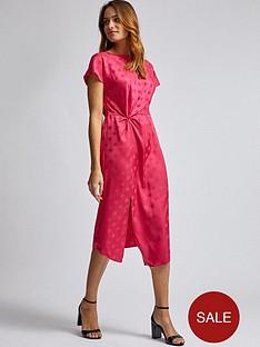 dorothy-perkins-dorothy-perkins-hot-pink-jacquard-manipulated-waist-midi-dress
