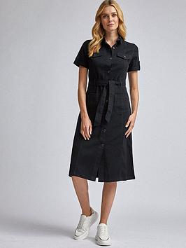 Dorothy Perkins Dorothy Perkins Denim Shirt Dress &Ndash; Black Picture