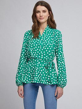 Dorothy Perkins Dorothy Perkins Spot Wrap Top &Ndash; Green Picture