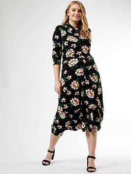 Dorothy Perkins Dorothy Perkins Curve Black Floral Three Quarter Sleeve  ... Picture