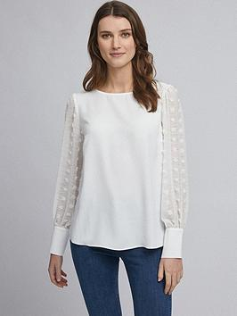 Dorothy Perkins Dorothy Perkins Flocked Spot Long Sleeve Top &Ndash; White Picture