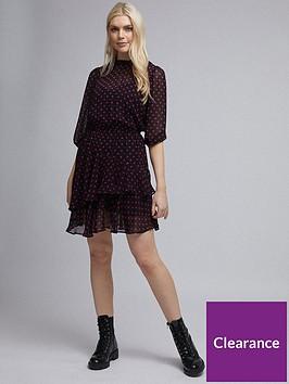 dorothy-perkins-dorothy-perkins-pink-spot-chiffon-long-sleeve-frill-hem-fit-and-flare-dress