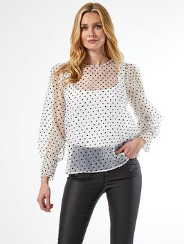 Dorothy Perkins Dorothy Perkins Heart Organza Long Sleeve Top - Ivory Picture