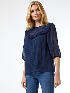 dorothy-perkins-dobby-ruffle-top-ndash-navy