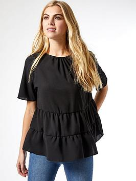 Dorothy Perkins Dorothy Perkins Tiered Frill Top - Black Picture