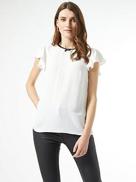 Dorothy Perkins Dorothy Perkins Bow Neck Detail Top - Ivory Picture