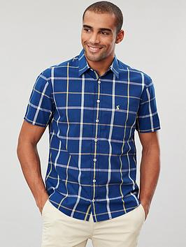 Joules Joules Short Sleeve Classic Fit Check Shirt - Navy/Yellow Picture