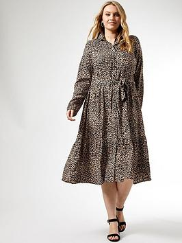 Dorothy Perkins Dorothy Perkins Curve Leopard Print Tie Neck Shirtdress -  ... Picture