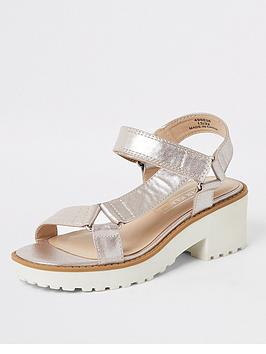 River Island River Island Girls Metallic Chunky Heeled Sandals - Pink Picture