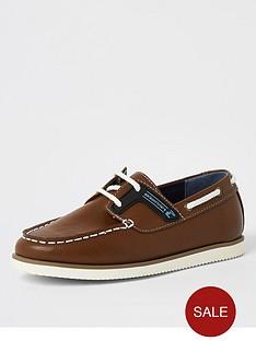 river-island-boys-lace-up-boat-shoe-tan