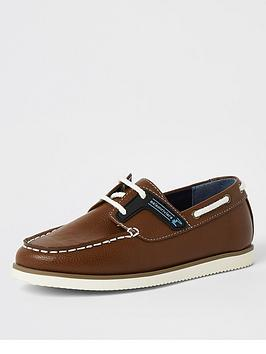 River Island River Island Boys Lace Up Boat Shoe - Tan Picture