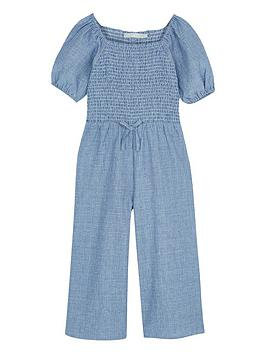 Mintie by Mint Velvet Mintie By Mint Velvet Girls Chambray Stripe Jumpsuit  ... Picture