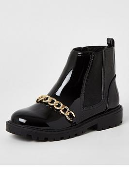 River Island River Island Girls Patent Chain Boots - Black Picture