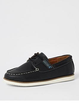 River Island River Island Boys Lace Up Boat Shoes - Navy Picture