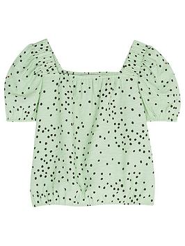 Mintie by Mint Velvet Mintie By Mint Velvet Girls Lila Green Spot Top -  ... Picture