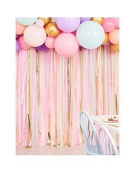 Product photograph showing Ginger Ray Pastel Streamer And Balloon Party Backdrop
