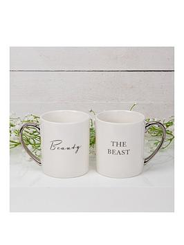 Product photograph showing Amore Mug Gift Set Pair - Beauty The Beast