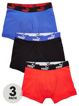 Puma   3 Pack Of Basic Solid Boxer Shorts - Blue/Red