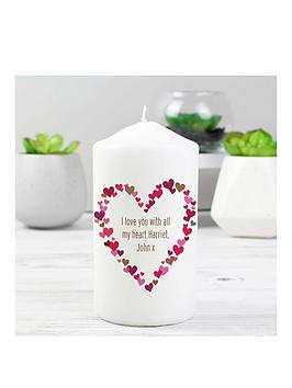Very Personalised Confetti Heart Print Candle Picture