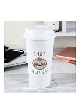 Very Personalised Sloth Face Travel Mug Picture