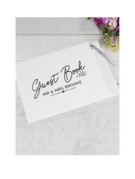 Very Personalised Mr & Mrs Botanical Wedding Guest Book & Pen Picture